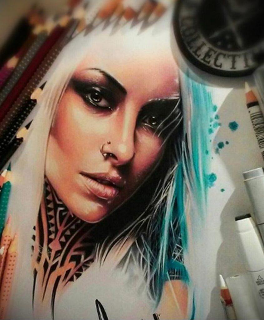 Пример невероятно реалистичного рисунка с девушкой у которой есть на теле татуировкаи для сайта tatufoto.com 28