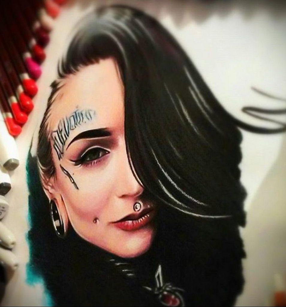 Пример невероятно реалистичного рисунка с девушкой у которой есть на теле татуировкаи для сайта tatufoto.com 29
