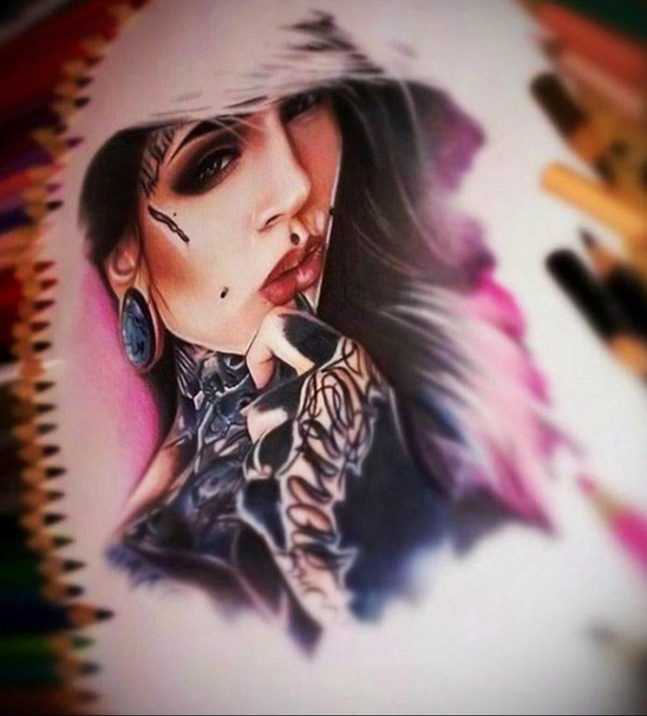 Пример невероятно реалистичного рисунка с девушкой у которой есть на теле татуировкаи для сайта tatufoto.com 30
