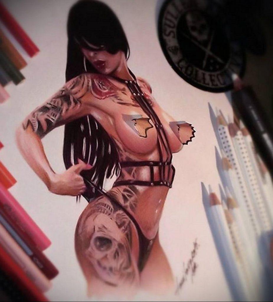 Пример невероятно реалистичного рисунка с девушкой у которой есть на теле татуировкаи для сайта tatufoto.com 31