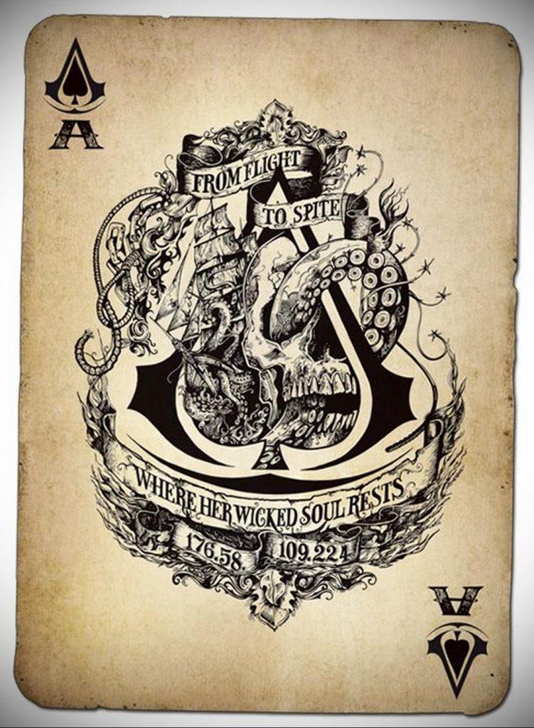 Эскиз тату пиковый туз 16.02.2020 №002 -ace of spades tattoo sketch- tatufoto.com