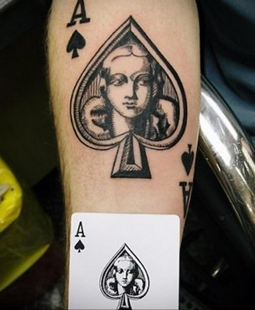 Эскиз тату пиковый туз 16.02.2020 №007 -ace of spades tattoo sketch- tatufoto.com