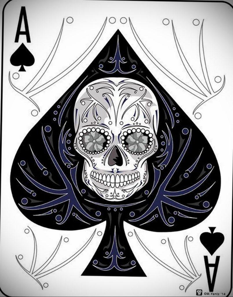 Эскиз тату пиковый туз 16.02.2020 №013 -ace of spades tattoo sketch- tatufoto.com