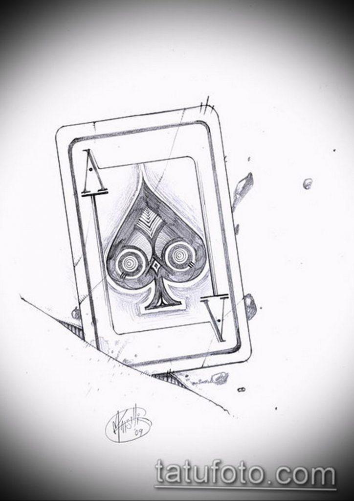 Эскиз тату пиковый туз 16.02.2020 №2111 -ace of spades tattoo sketch- tatufoto.com