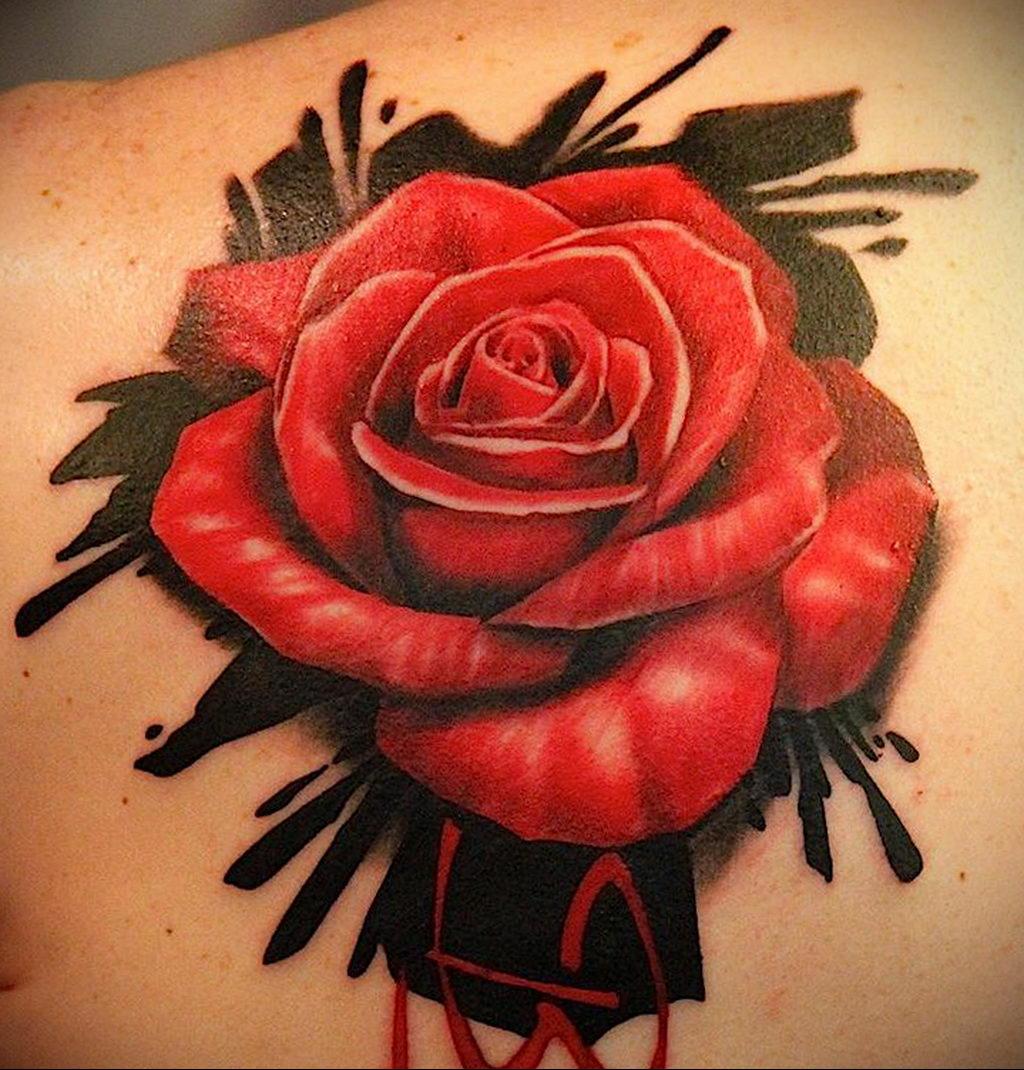 тату красная роза для девушки 04.02.2020 №002 -rose tattoo for girl- tatufoto.com