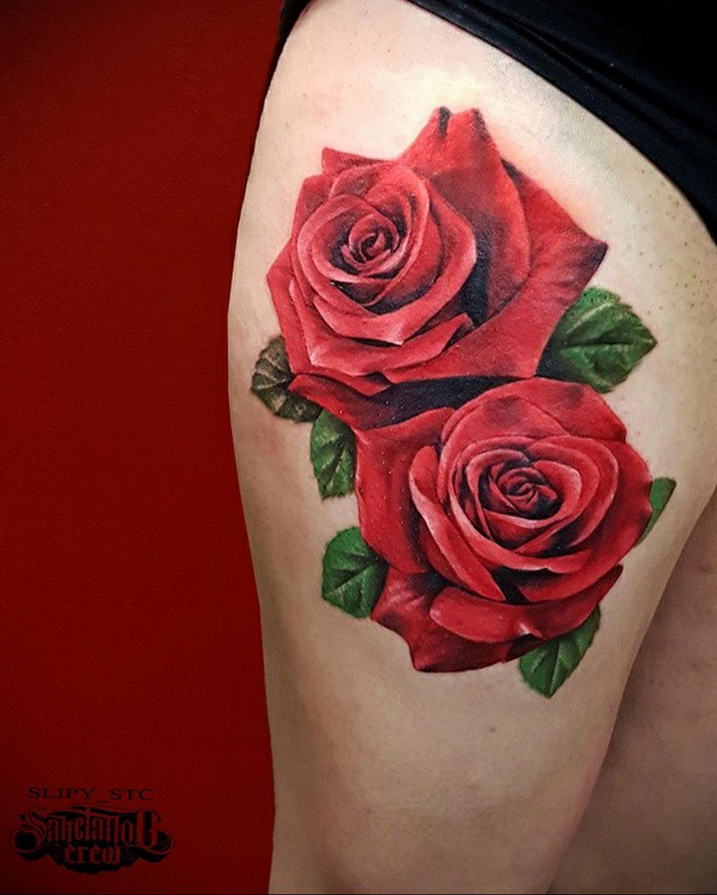 тату красная роза для девушки 04.02.2020 №035 -rose tattoo for girl- tatufoto.com