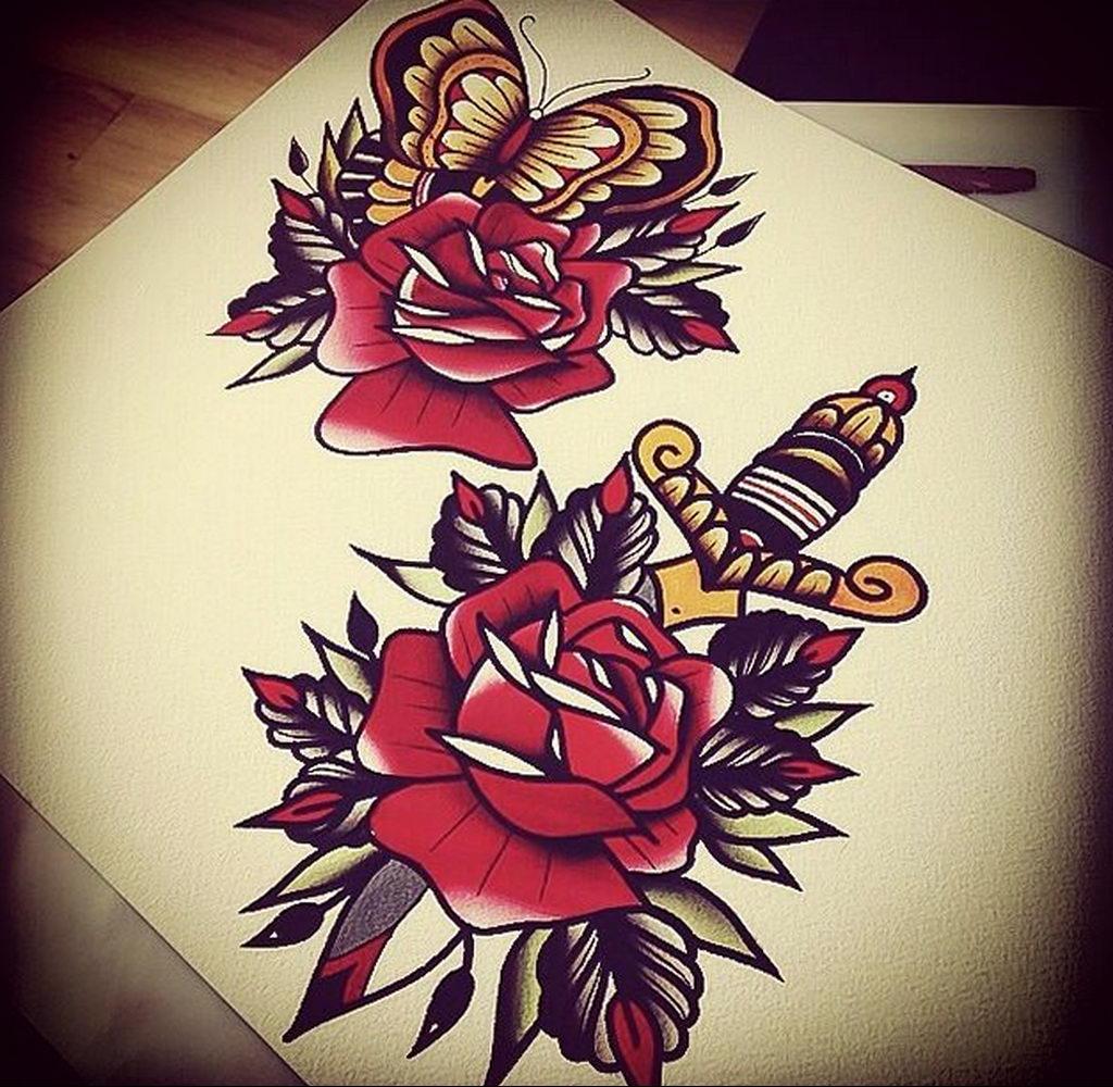 тату роза и кинжал для девушки 04.02.2020 №001 -rose tattoo for girl- tatufoto.com