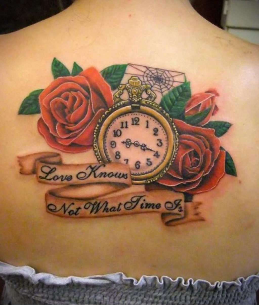 тату роза и часы для девушки 04.02.2020 №001 -rose tattoo for girl- tatufoto.com