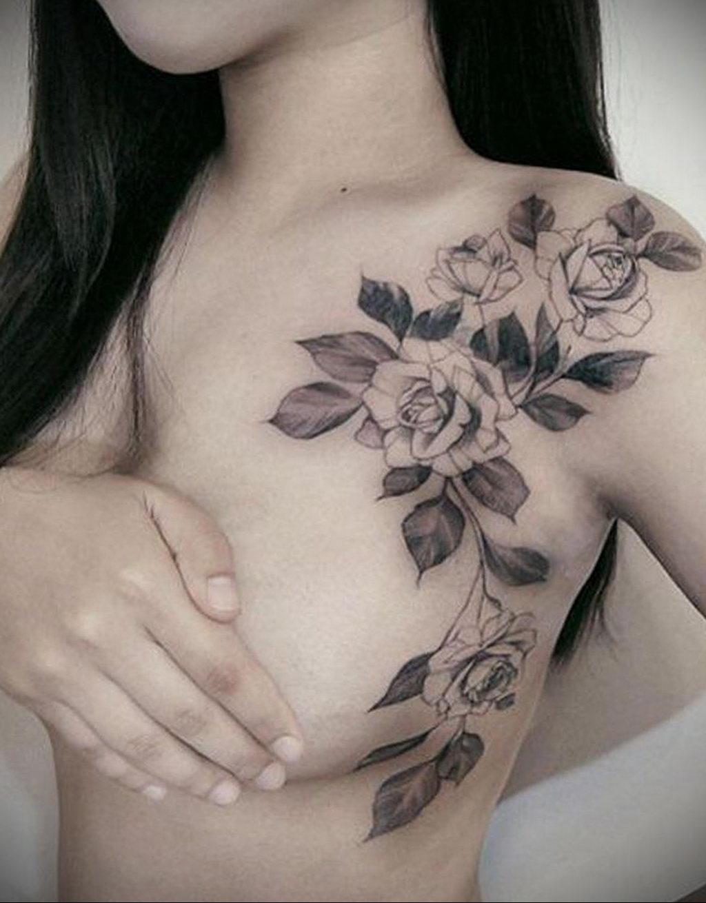 тату роза на ключице девушки 04.02.2020 №010 -rose tattoo for girl- tatufoto.com