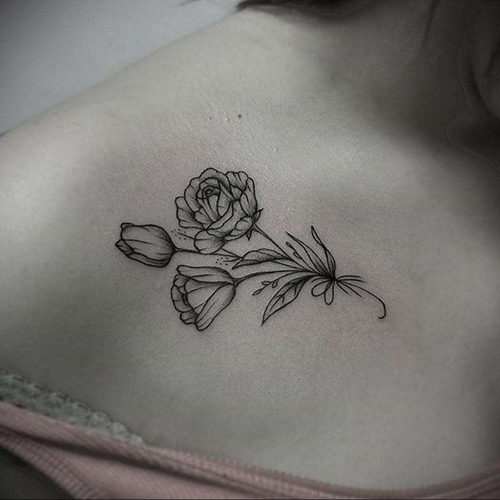 тату роза на ключице девушки 04.02.2020 №014 -rose tattoo for girl- tatufoto.com