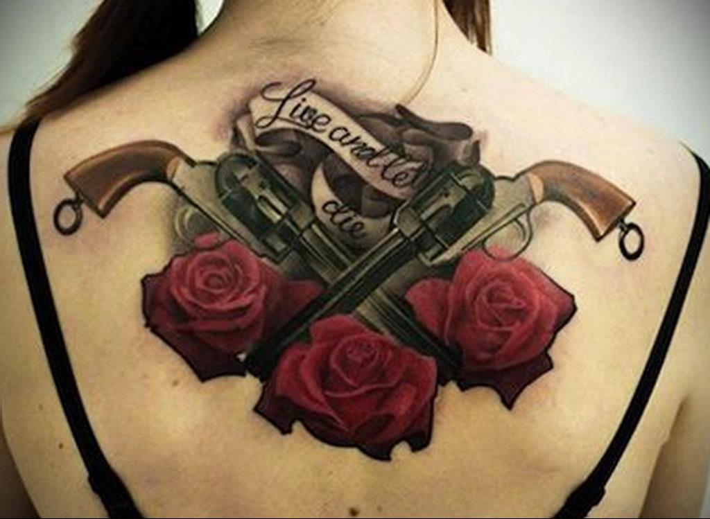 тату роза на спине девушки 04.02.2020 №002 -rose tattoo for girl- tatufoto.com