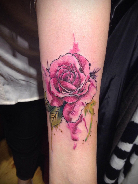 тату роза цветная для девушки 04.02.2020 №005 -rose tattoo for girl- tatufoto.com
