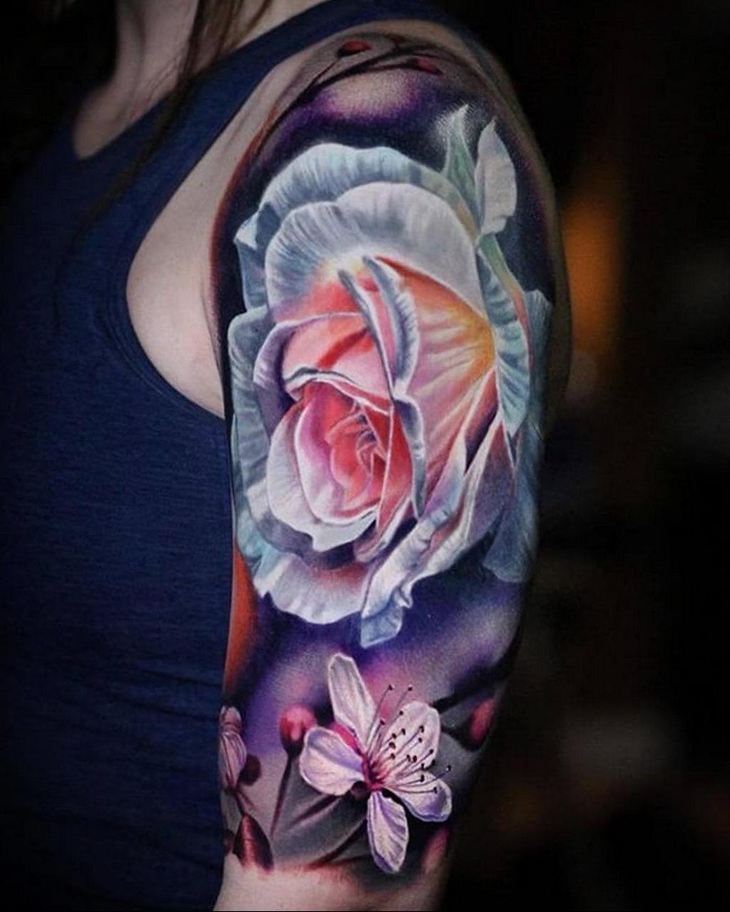 тату роза цветная для девушки 04.02.2020 №008 -rose tattoo for girl- tatufoto.com
