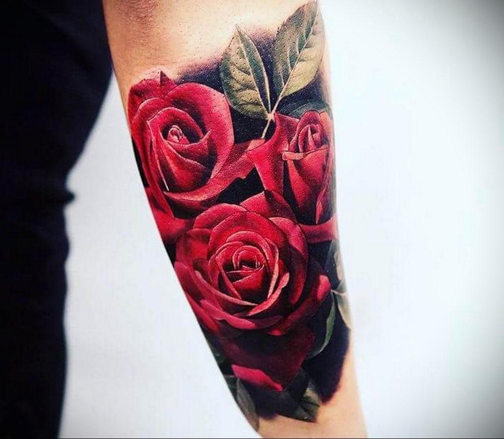 тату роза цветная для девушки 04.02.2020 №014 -rose tattoo for girl- tatufoto.com
