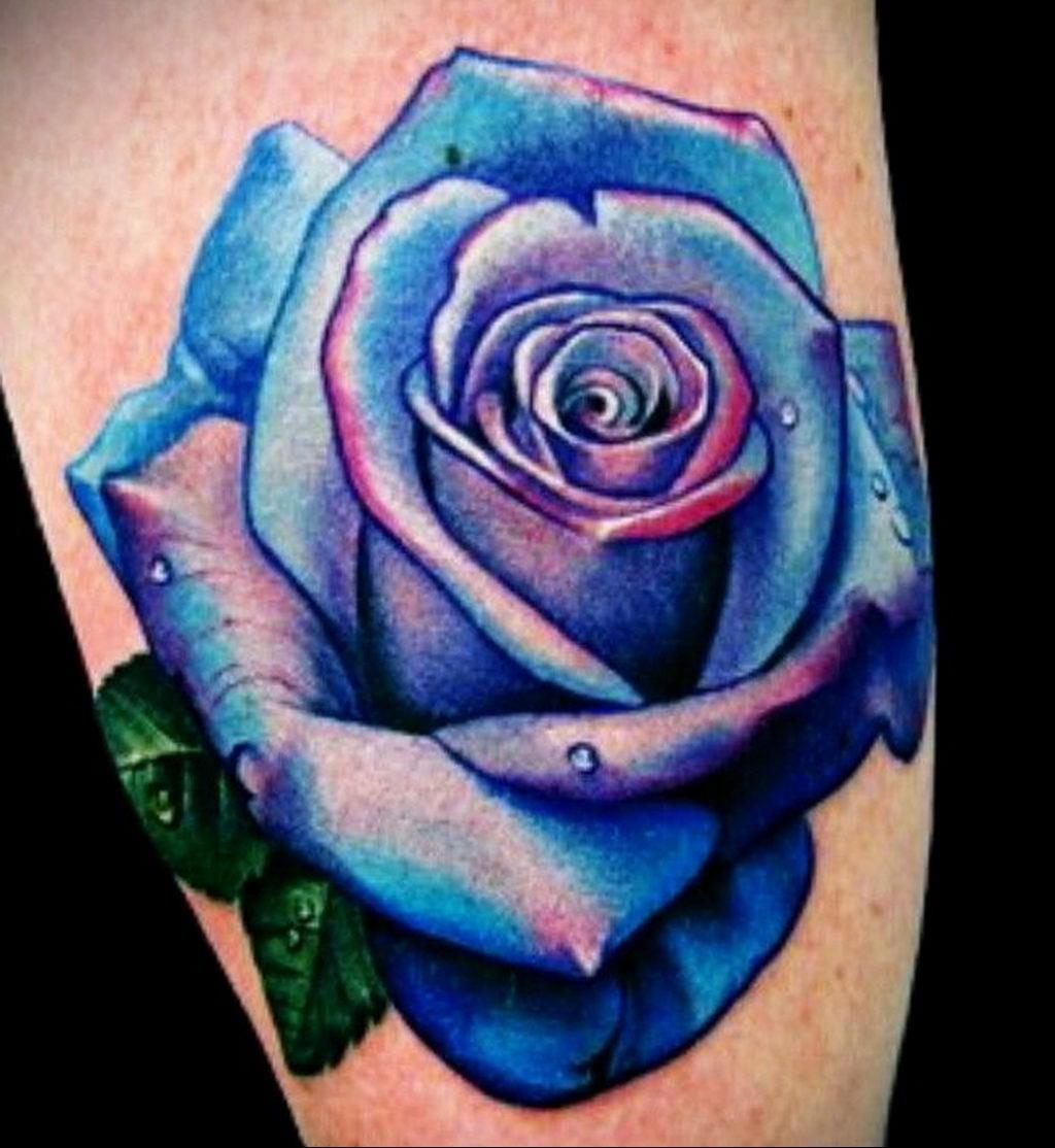 тату синяя роза для девушки 04.02.2020 №001 -rose tattoo for girl- tatufoto.com