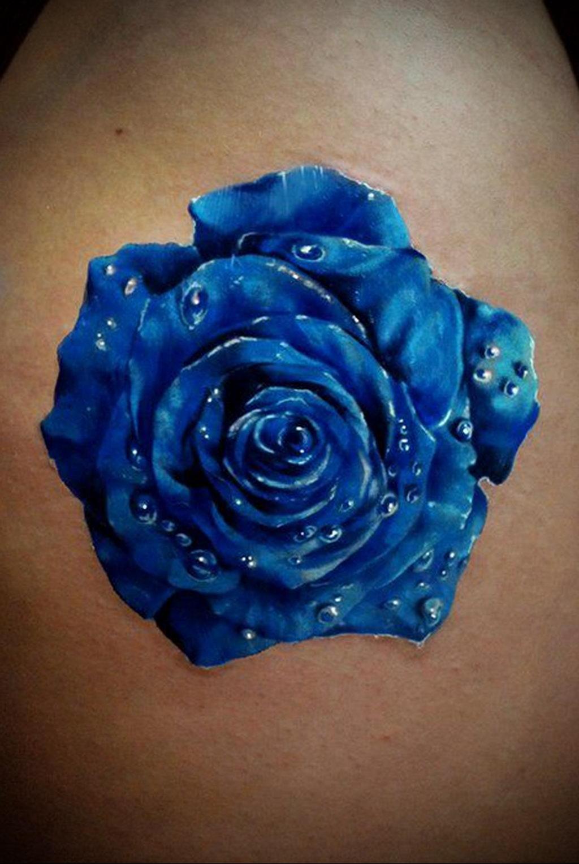 тату синяя роза для девушки 04.02.2020 №029 -rose tattoo for girl- tatufoto.com