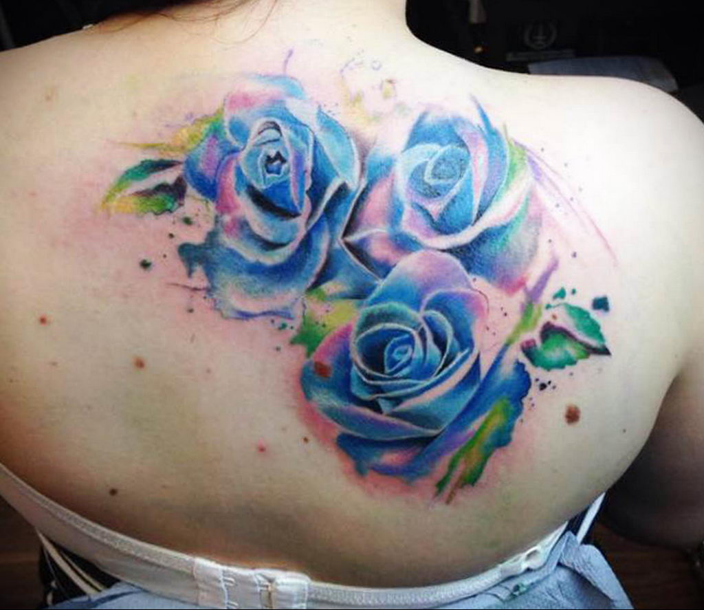 тату синяя роза для девушки 04.02.2020 №034 -rose tattoo for girl- tatufoto.com
