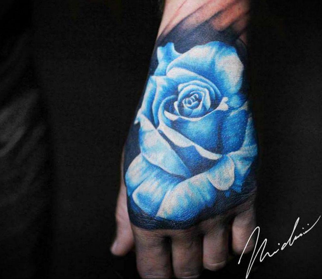 тату синяя роза для девушки 04.02.2020 №038 -rose tattoo for girl- tatufoto.com