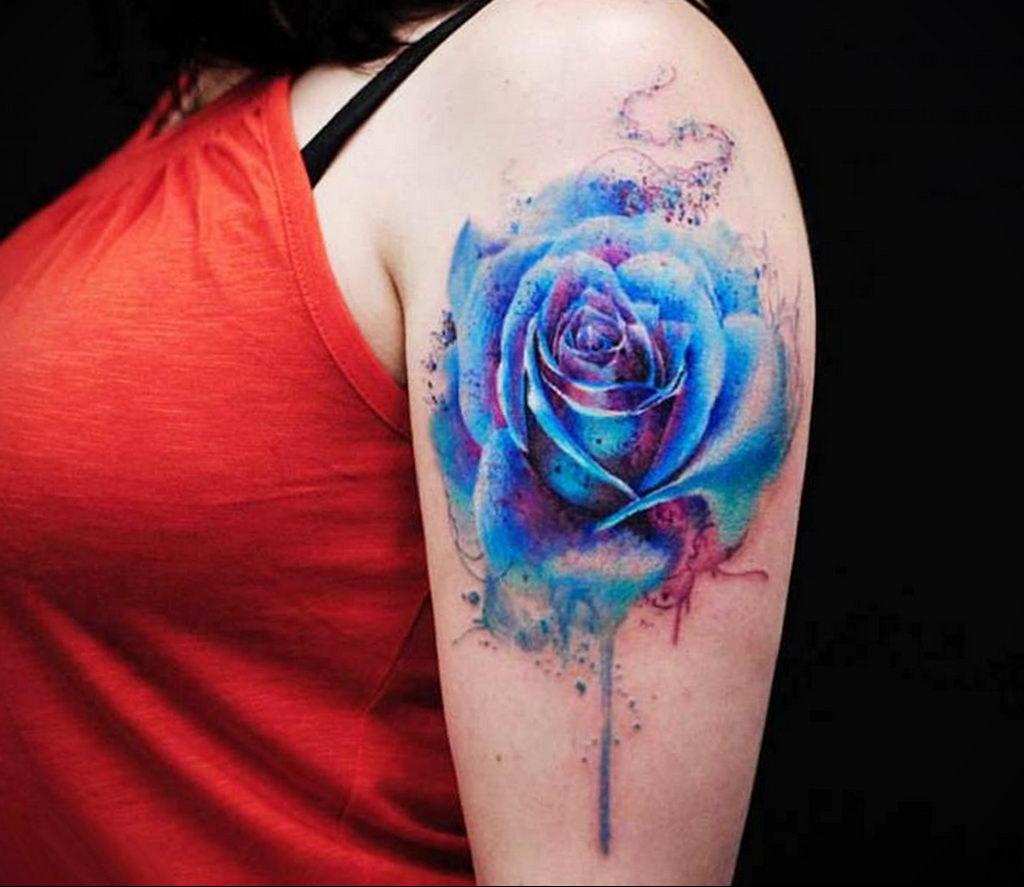 тату синяя роза для девушки 04.02.2020 №041 -rose tattoo for girl- tatufoto.com