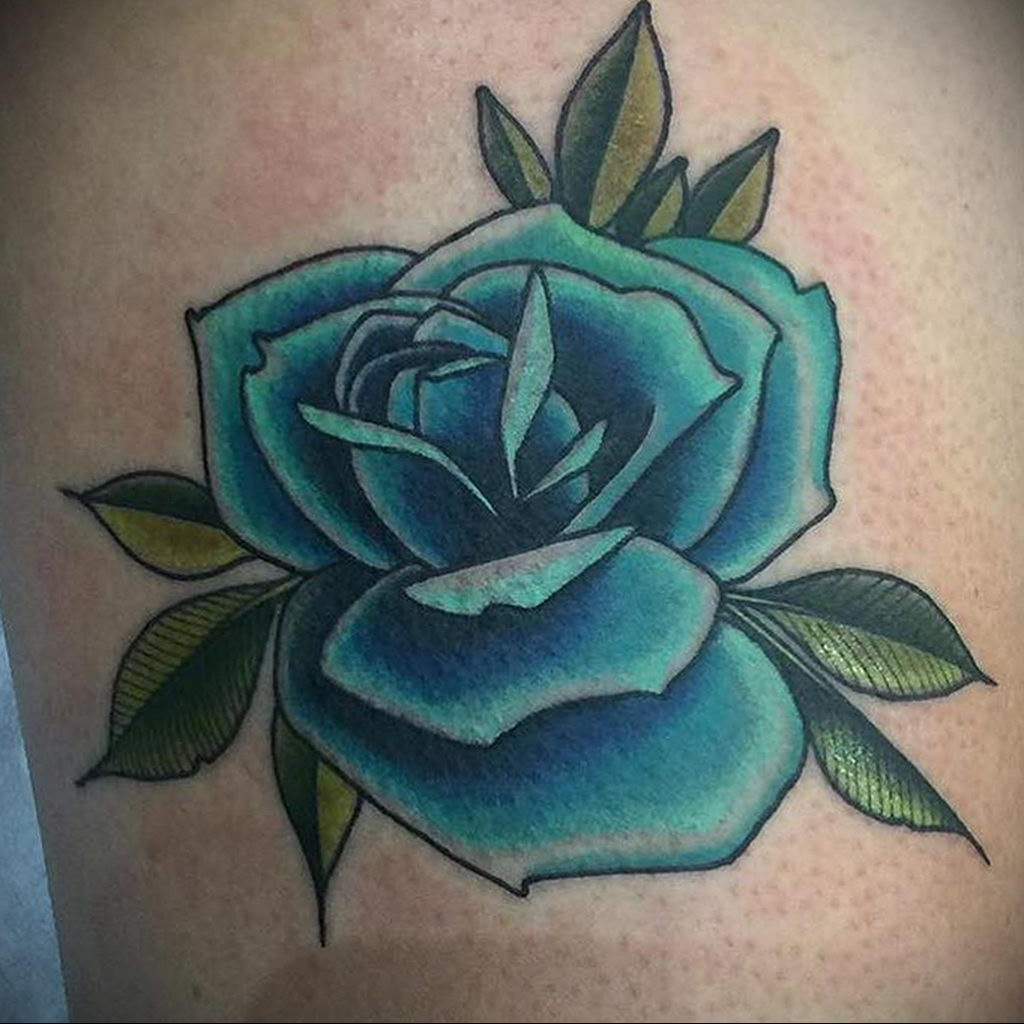 тату синяя роза для девушки 04.02.2020 №043 -rose tattoo for girl- tatufoto.com