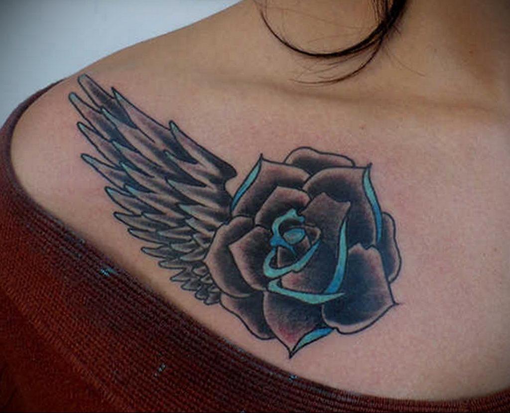 тату синяя роза для девушки 04.02.2020 №066 -rose tattoo for girl- tatufoto.com