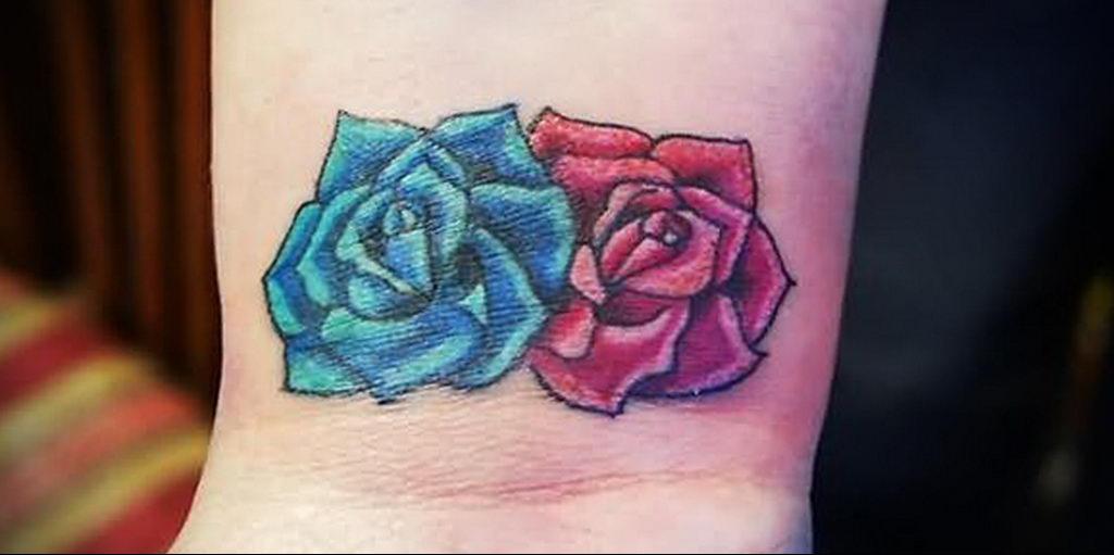 тату синяя роза для девушки 04.02.2020 №095 -rose tattoo for girl- tatufoto.com