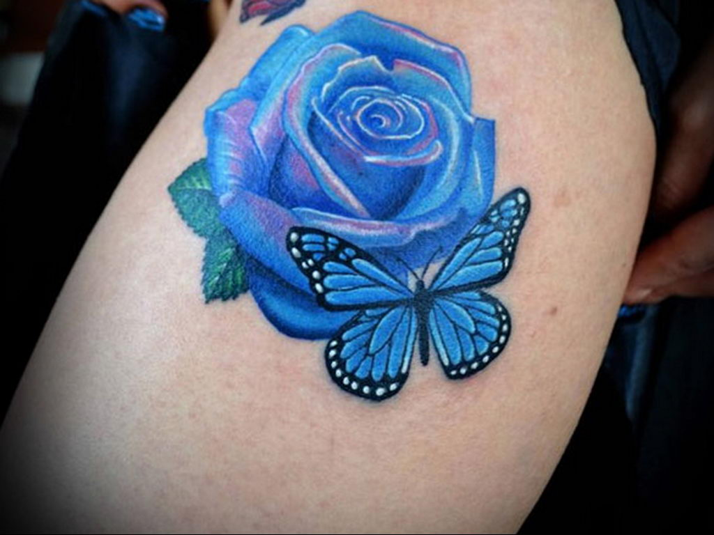 тату синяя роза для девушки 04.02.2020 №097 -rose tattoo for girl- tatufoto.com