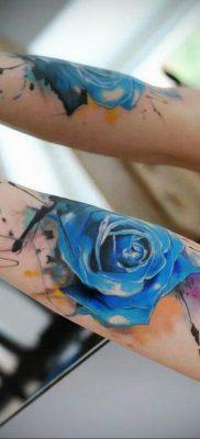 тату синяя роза для девушки 04.02.2020 №099 -rose tattoo for girl- tatufoto.com