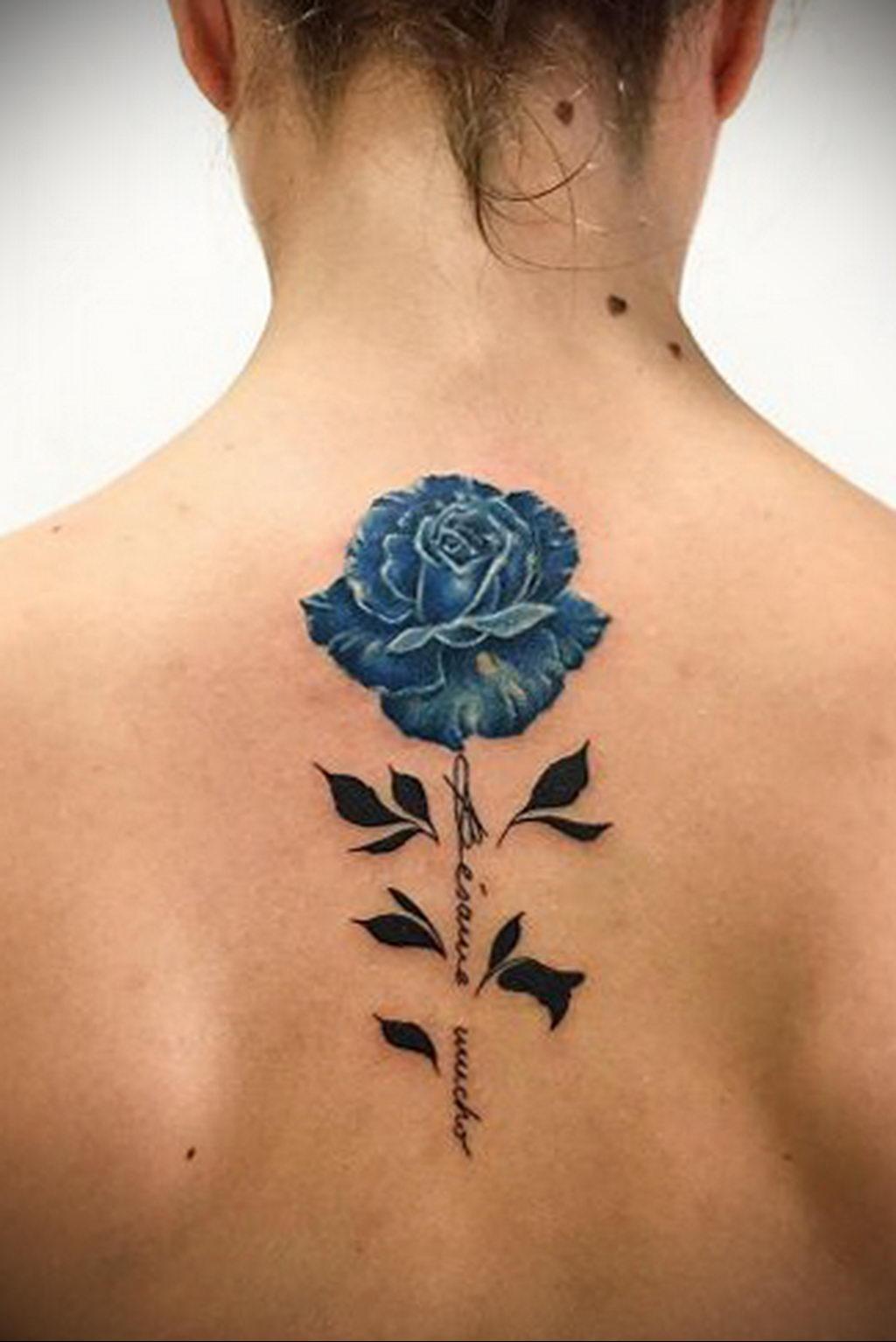 тату синяя роза для девушки 04.02.2020 №100 -rose tattoo for girl- tatufoto.com