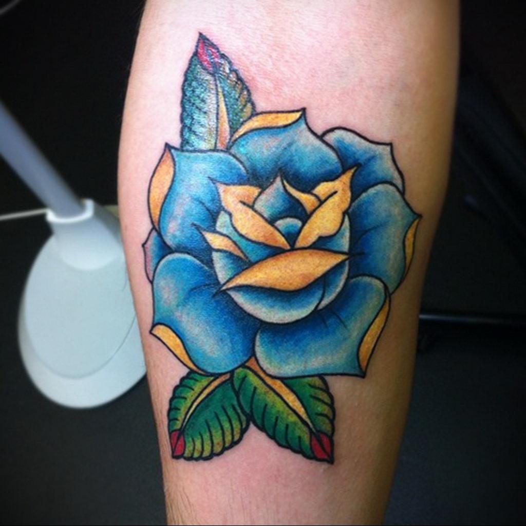тату синяя роза для девушки 04.02.2020 №108 -rose tattoo for girl- tatufoto.com
