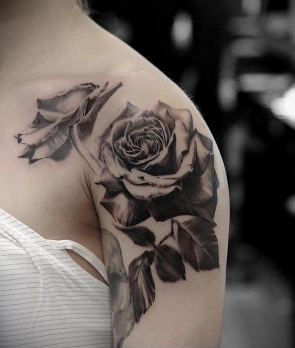 тату черная роза для девушки 04.02.2020 №007 -rose tattoo for girl- tatufoto.com
