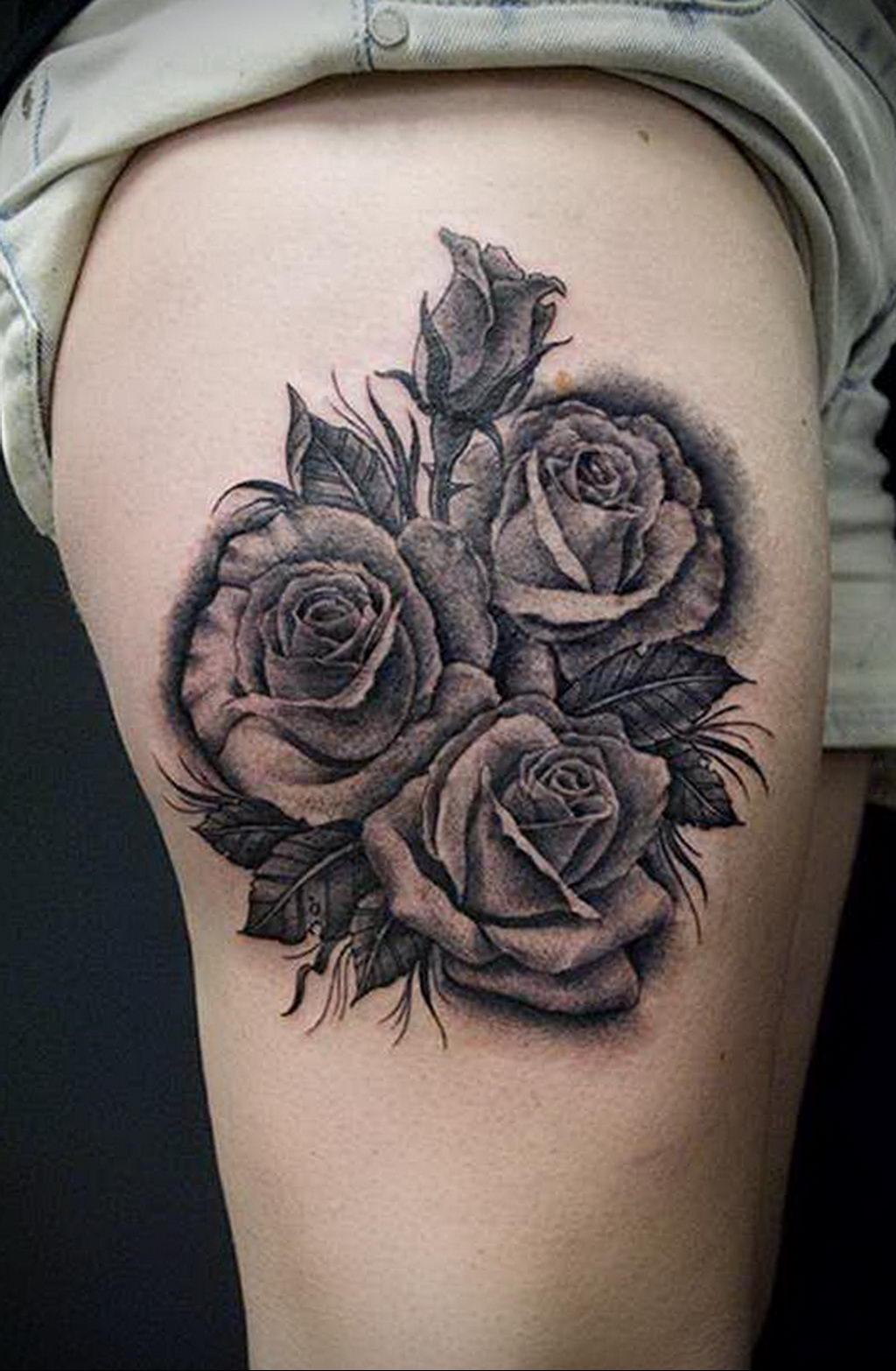 тату черная роза для девушки 04.02.2020 №008 -rose tattoo for girl- tatufoto.com