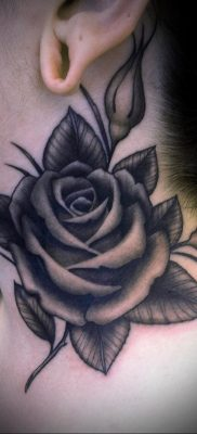 тату черная роза для девушки 04.02.2020 №062 -rose tattoo for girl- tatufoto.com