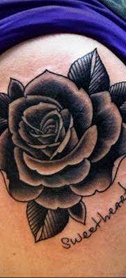тату черная роза для девушки 04.02.2020 №072 -rose tattoo for girl- tatufoto.com