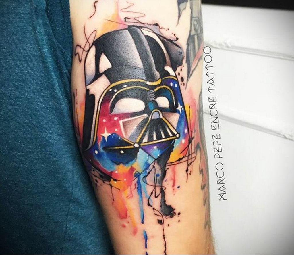 фото вариант тату Дарт Вейдер 04.02.2020 №1064 -darth vader tattoo- tatufoto.com