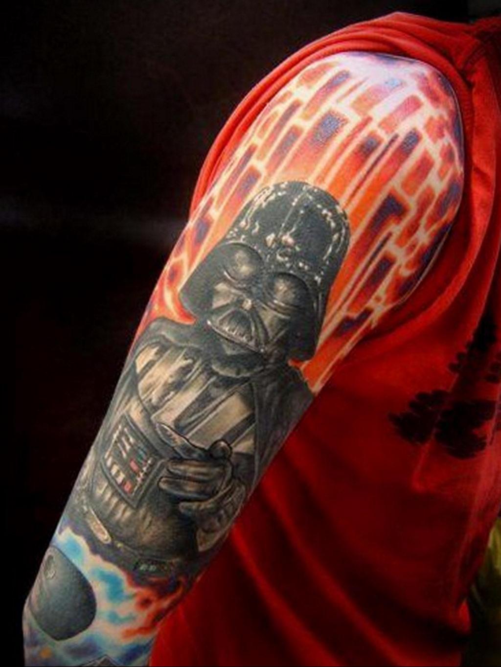 фото пример тату Дарт Вейдер 04.02.2020 №1084 -darth vader tattoo- tatufoto.com