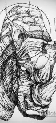 фото эскиза тату носорог 02.02.2020 №043 -rhino tattoo sketches- tatufoto.com