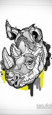 эскиз тату носорог 02.02.2020 №003 -rhino tattoo sketches- tatufoto.com