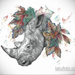 эскиз тату носорог 02.02.2020 №029 -rhino tattoo sketches- tatufoto.com