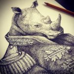 эскиз тату носорог 02.02.2020 №049 -rhino tattoo sketches- tatufoto.com