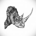 эскиз тату носорог 02.02.2020 №056 -rhino tattoo sketches- tatufoto.com