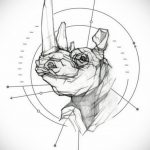 эскиз тату носорог 02.02.2020 №059 -rhino tattoo sketches- tatufoto.com