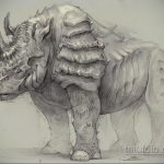 эскиз тату носорог 02.02.2020 №060 -rhino tattoo sketches- tatufoto.com