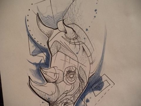 эскиз тату носорог 02.02.2020 №070 -rhino tattoo sketches- tatufoto.com