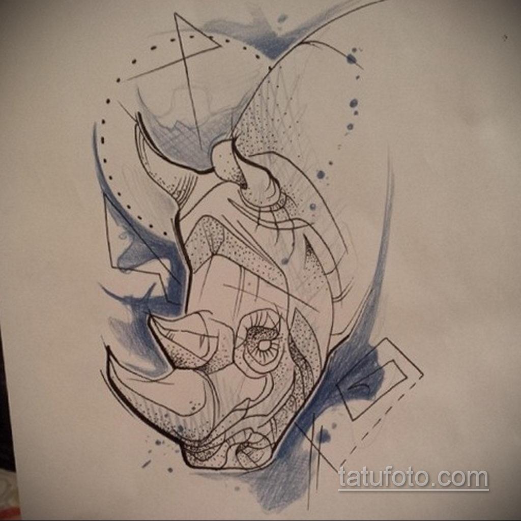 Эскизы тату носорог