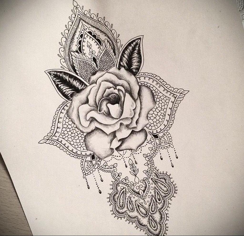 эскиз тату роза для девушки 04.02.2020 №013 -rose tattoo for girl- tatufoto.com