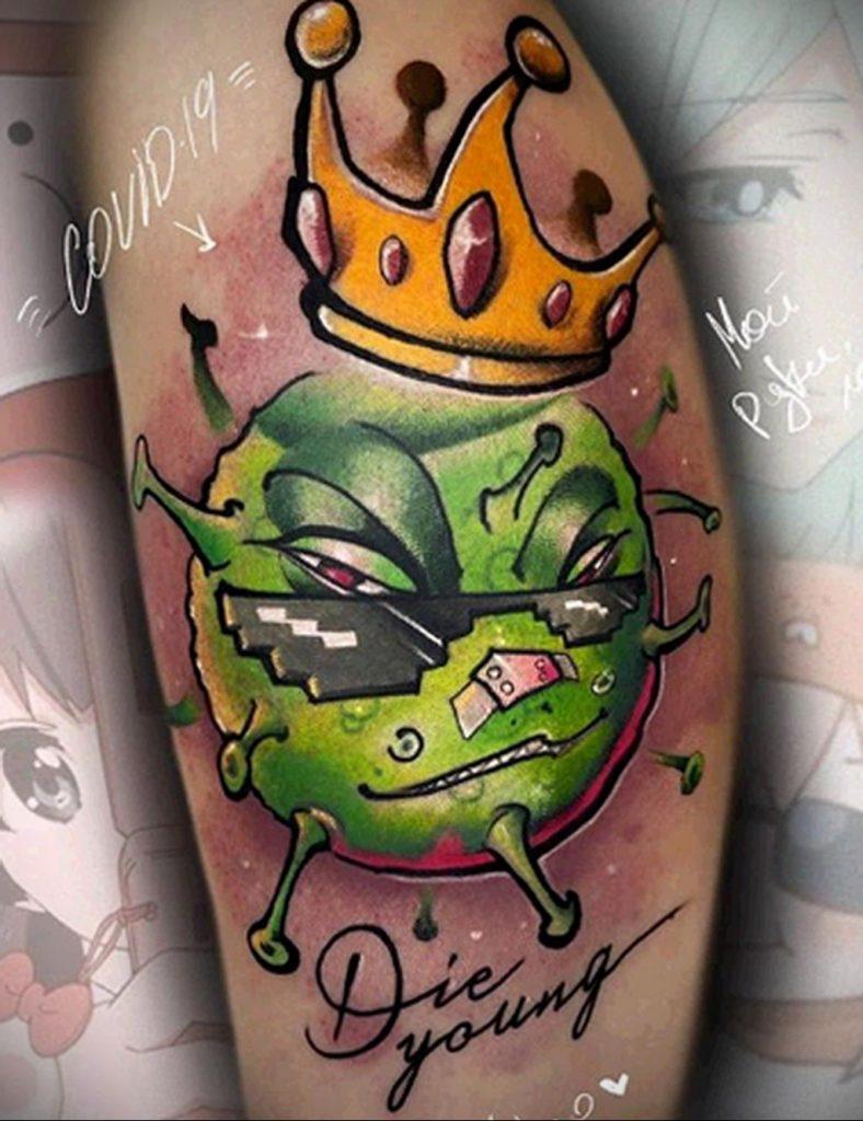 Татуировка на тему коронавируса COVID-19 - цветной рисунок вирус в короне