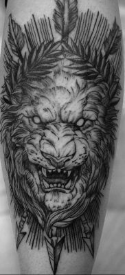 Фото пример рисунка тату оскал льва 05.02.2020 №016 -grin lion tattoo- tatufoto.com