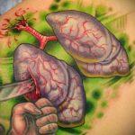 Фото татуировки с легкими человека 23.03.2020 №075 -lung tattoos- tatufoto.com