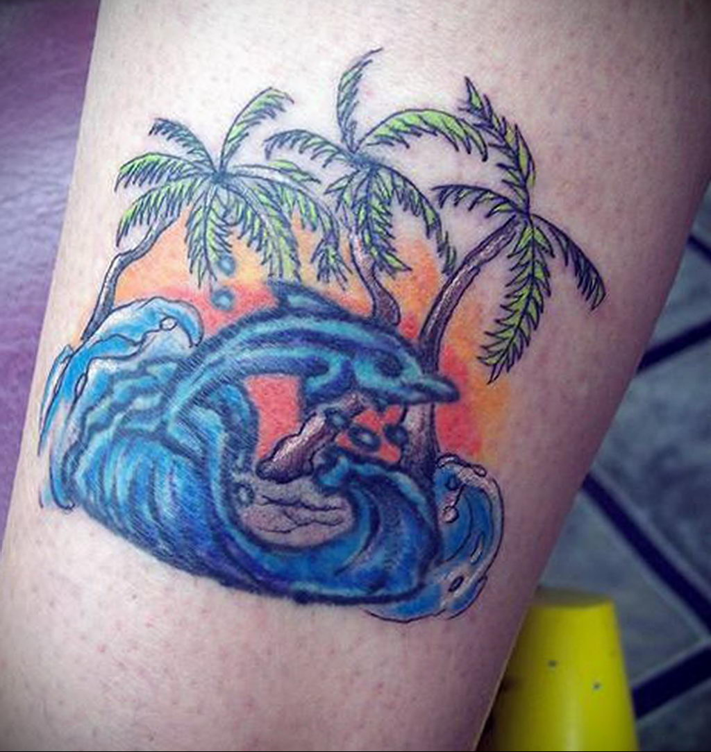 Фото тату про любовь рисунок Дельфин 03.02.2020 №047 -dolphin tattoo- tatufoto.com